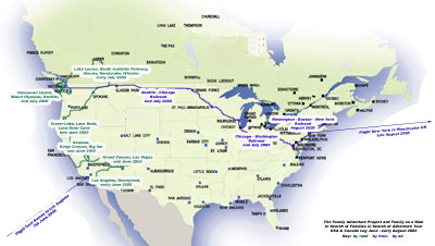 click for detailed map of USA/Canada leg